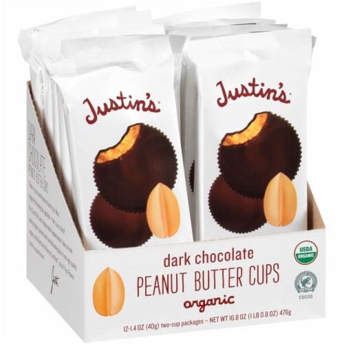 Justin's Organic Dark Chocolate Peanut Butter Cups Perspective: front