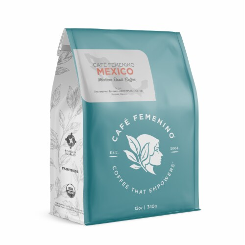 Café Femenino Organic Fair Trade Mexico Whole Bean Coffee Perspective: front