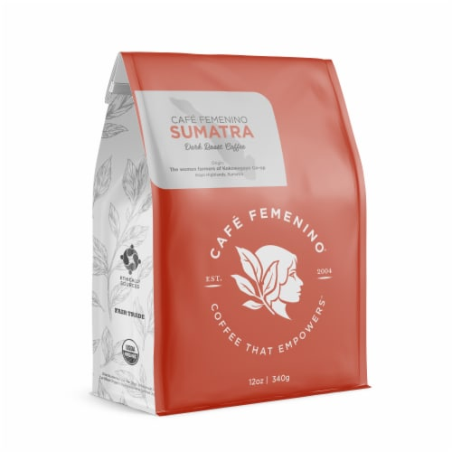 Café Femenino Organic Fair Trade Sumatra Whole Bean Coffee Perspective: front