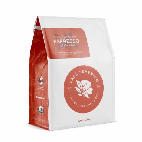 Café Femenino Organic Fair Trade Espresso Whole Bean Coffee Perspective: front