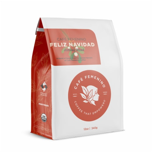 Café Femenino Organic Fair Trade Holiday Blend Whole Bean Coffee Perspective: front