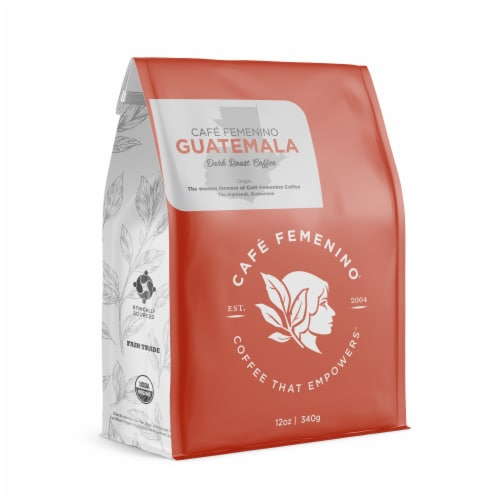 Café Femenino Organic Fair Trade Guatemala Whole Bean Coffee Perspective: front