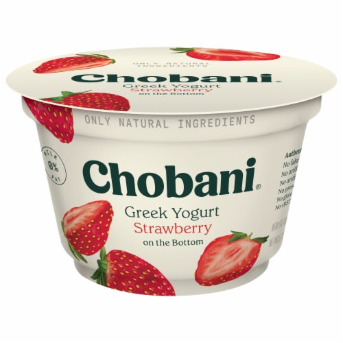 Chobani Strawberry on the Bottom Non-Fat Greek Yogurt Perspective: front
