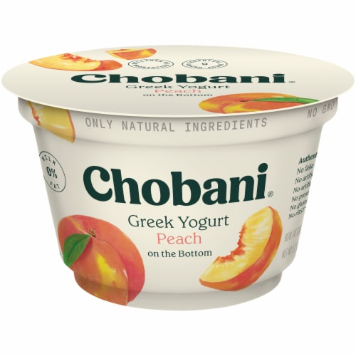 Chobani Peach on the Bottom Non-Fat Greek Yogurt Perspective: front