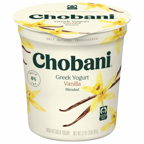 Chobani Vanilla Blended Non-Fat Greek Yogurt Perspective: front