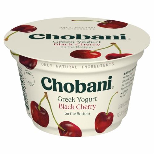 Chobani Black Cherry on the Bottom Greek Yogurt Perspective: front