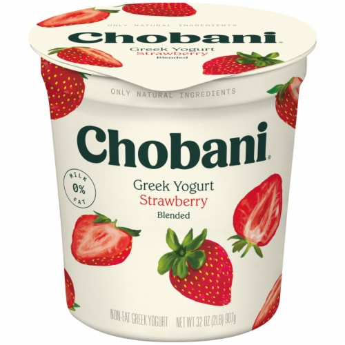 Chobani Strawberry Blended Non-Fat Greek Yogurt Perspective: front