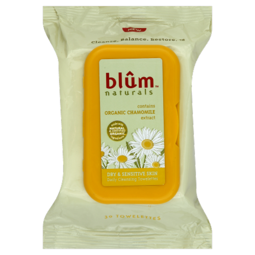 Blum Naturals Dry & Sensitive Skin Cleasing Towelettes Perspective: front