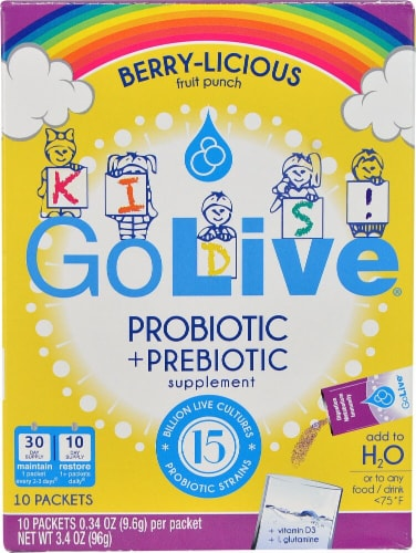 GoLive  Kids! Probiotic plus Prebiotic Drink Mix   Berrylicious Perspective: front