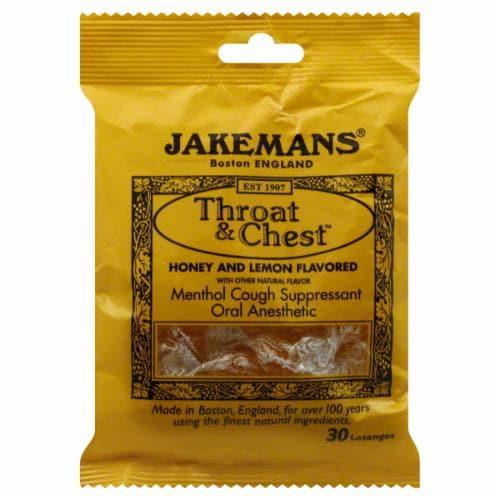 Jakemans Honey Lemon Menthol Cough Suppressant Perspective: front