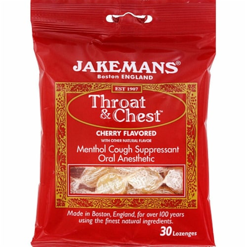 Jakemans Throat & Chest™ Flavored Lozenges Cherry Perspective: front