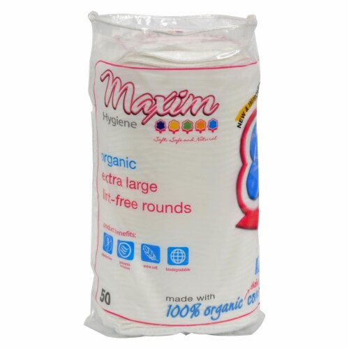 Maxim Hygiene Products Organic Cotton Rounds - Extra Large - 50 ct Perspective: front