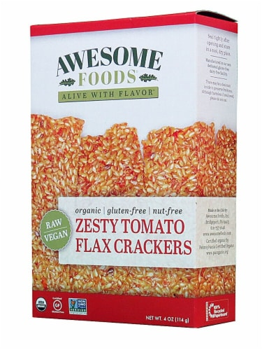 Awesome Foods  Flax Crackers Gluten Free   Zesty Tomato Perspective: front