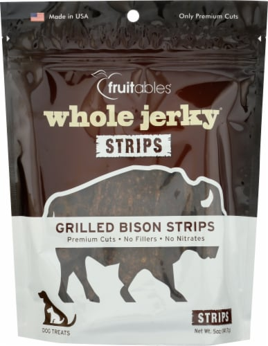 Fruitables® Whole Jerky® Grilled Bison Strips Dog Treats Perspective: front