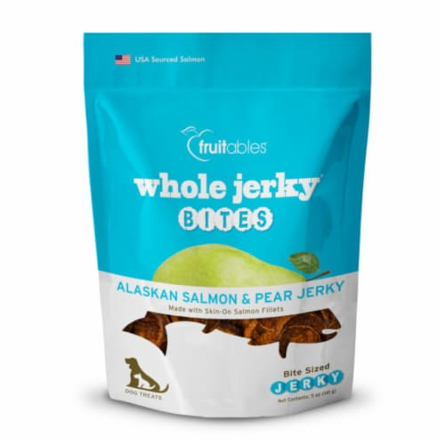 Fruitables® Alaskan Salmon & Pear Whole Jerky Bites Dog Treats Perspective: front