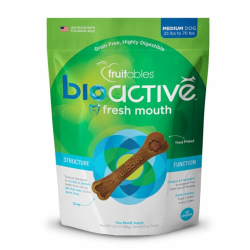 Fruitables® BioActive™ Fresh Mouth Medium Dog Dental Chews Perspective: front