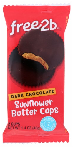Free2b Dark Chocolate and Sunflower Seed Butter Cups Perspective: front