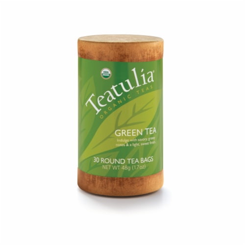 Teatulia Organic Green Tea Bags 30 Count Perspective: front