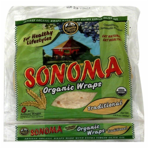 Sonoma Organic Traditional Wraps 6 Count Perspective: front