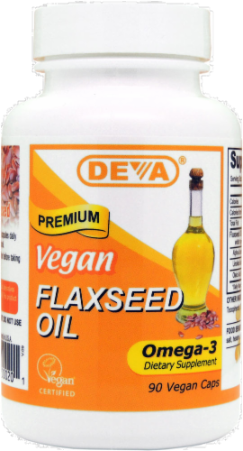 Deva Vegan Flax Seed Oil Capsules Perspective: front