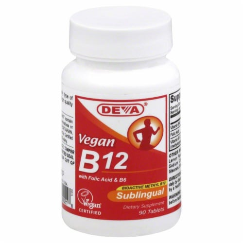 Deva Vegan B12 Sublingual Tablets Perspective: front