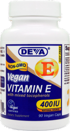 Deva Vegan Vitamin E with Mixed Tocopherols Capsules 400IU Perspective: front