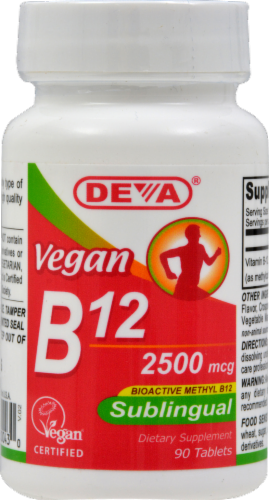 Deva Vegan Sublingual B12 Tablets 2500mcg Perspective: front