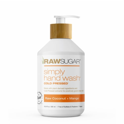 Raw Sugar Living Raw Coconut and Mango Cold Pressed Simply Hand Wash Perspective: front