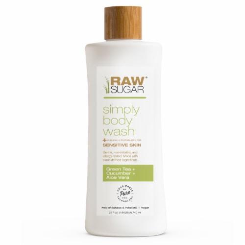 Raw Sugar Living Green Tea + Cucumber + Aloe Vera Sensitive Skin Simply Body Wash Perspective: front