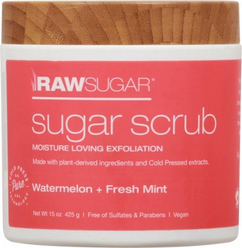 Raw Sugar Watermelon + Fresh Mint Sugar Scrub Exfoliant Perspective: front