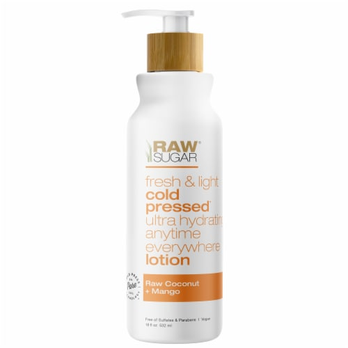 Raw Sugar Raw Coconut + Mango Cold Pressed Hydrating Body Lotion Perspective: front