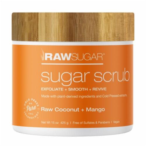 Raw Sugar Living Raw Coconut and Mango Sugar Scrub Perspective: front