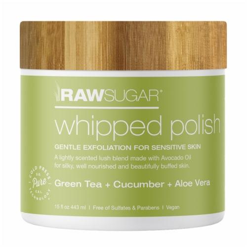 Raw Sugar Living Green Tea + Cucumber + Aloe Vera Whipped Polish Perspective: front