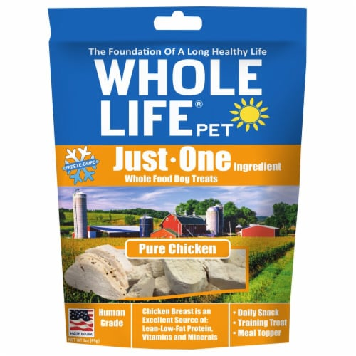 Whole Life Pet  Just One Ingredient Whole Food Dog Treats   Pure Chicken Breast Perspective: front