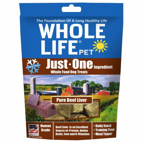 Whole Life Pet  Just One Ingredient Whole Food Dog Treats   Pure Beef Liver Perspective: front