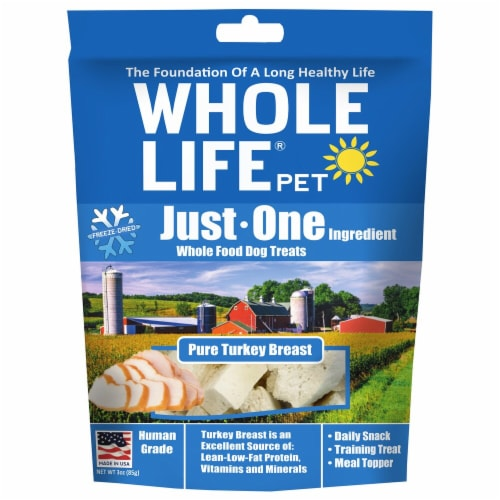 Whole Life Pet  Just One Ingredient Whole Food Dog Treats   Pure Turkey Breast Perspective: front