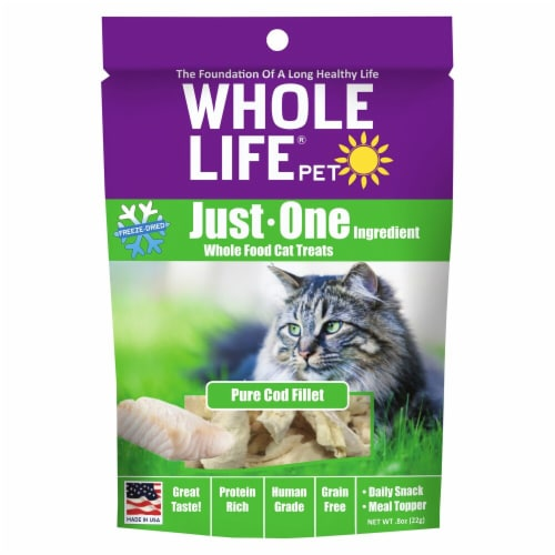 Whole Life Pet  Just One Ingredient Whole Food Cat Treats   Pure Cod Fillet Perspective: front
