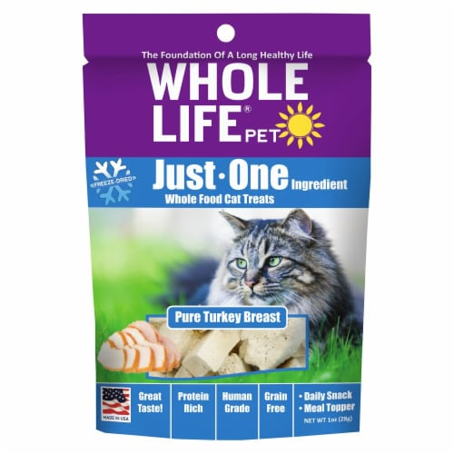 Whole Life Pet  Just One Ingredient Whole Food Cat Treats   Pure Turkey Breast Perspective: front