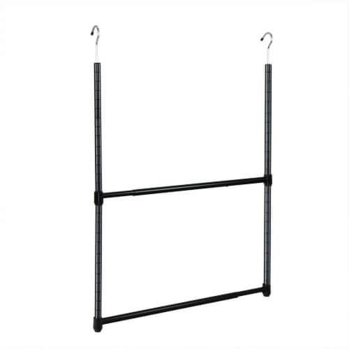 Oceanstar 2-Tier Portable Adjustable Closet Hanger Rod, Black Perspective: front