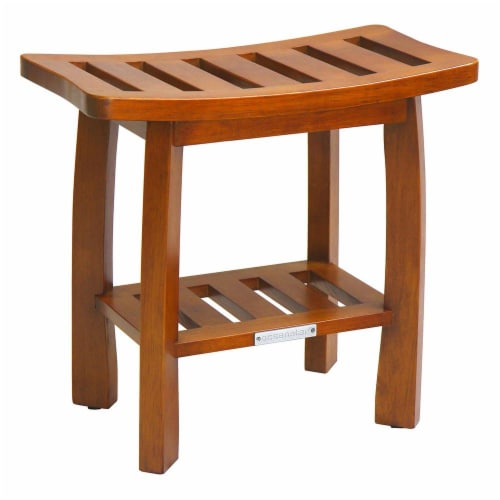 Oceanstar Solid Wood Spa Shower Bench with Storage Shelf, Teak Color Finish Perspective: front