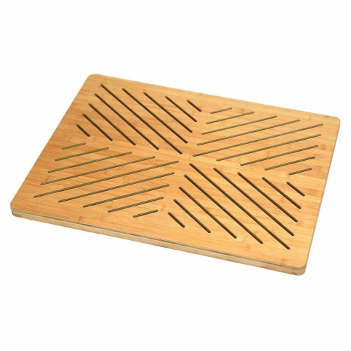 Oceanstar Bamboo Floor and Bath mat with Non-Slip Rubber Feet Perspective: front