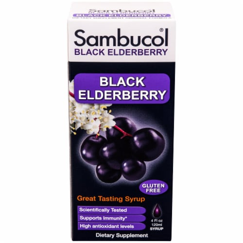 Sambucol Black Elderberry Gluten Free Dietary Supplement Perspective: front
