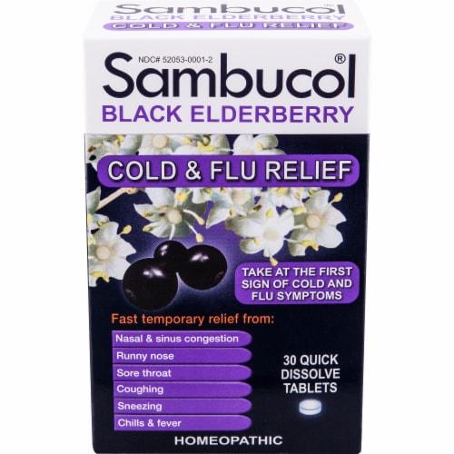 Sambucol Black Elderberry Cold & Flu Relief Tablets Perspective: front