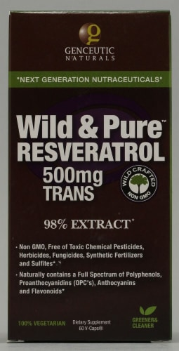 Genceutic Naturals  Wild & Pure Resveratrol + 500mg Trans-Resveratrol Perspective: front