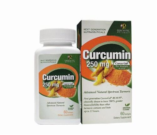 Genceutic Naturals Curcumin 250 mg Softgels Perspective: front