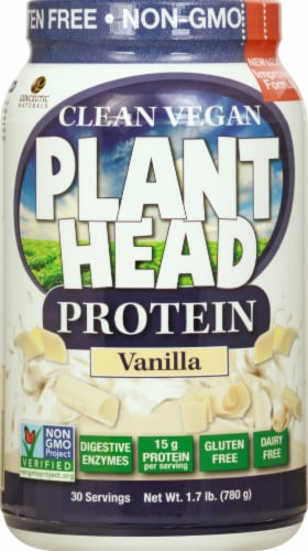 Genceutic Naturals Plant Head Protein Vanilla Powder Perspective: front