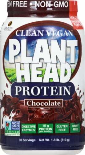 Genceutic Naturals  Plant Head Protein  Chocolate Perspective: front