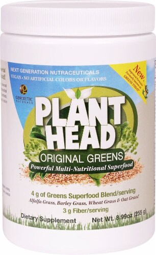 Genceutic Naturals Plant Head Original Greens Superfood Blend Powder Perspective: front