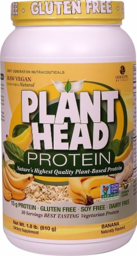 Genceutic Naturals Gluten Free Plant Head Banana Protein Powder Perspective: front