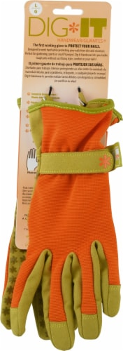 Dig It Handwear - Women's Gardening Gloves with Fingertip Protection - Large - Orange Perspective: front